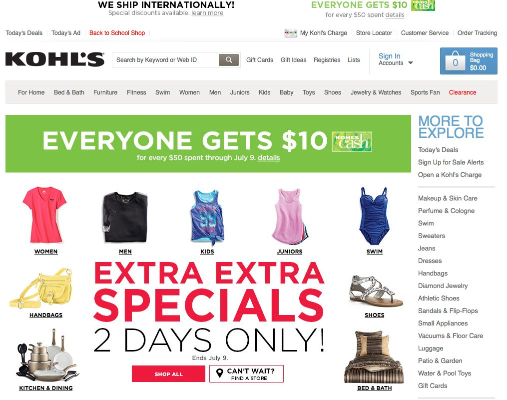 Search through Kohl's weekly ads, or browse by categories and brands.